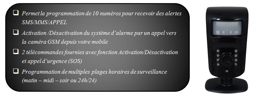 Caméra GSM - Fonctions principales - 2/2
